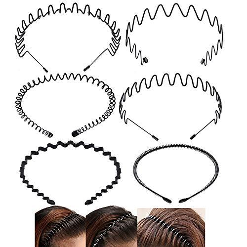 Nuluxi Unisexe Noir Cerceau de Cheveux Cheveux en Métal Vague Bandeau Noir Antidérapant Métal Noir Serre-tête Cheveux Accessoire Flexible Convient pour un Usage Quotidien pour les Hommes et les Femmes