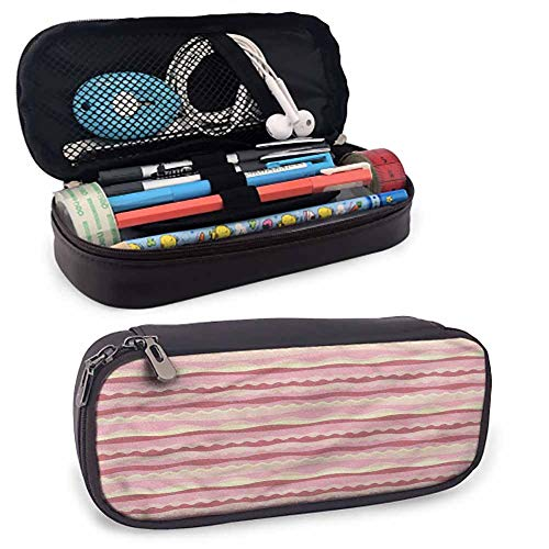 Dusty Rose Portable Carrying Case/Bag/Pouch/Holder, Doodle Style Waves Lines with Zip | for Men, Women, Girls, Boys & Professionals 8'x3.5'x1.5'
