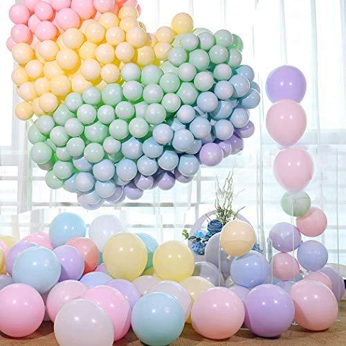 QYY 100pcs Globos Pastel Globos Macaron Pastel Color Globo de Latex para Graduaciones, Fiestas, cumpleaños, día de San Valentín, Decoraciones