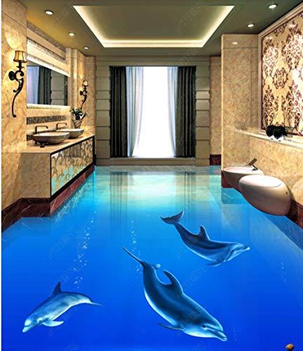 Fototapete 3D Bodenmalerei Schöne Delfin Unterwasserwelt 3D Dreidimensionalen Badezimmerboden-_300 * 210Cmhome Decoration Moistureproof Waterproof Sound Absorptioncustom