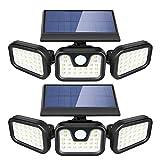 Solar Lights Outdoor, ZEVEZ 3 Heads 74LEDs Solar Motion Sensor Light Outdoor, Solar Security Lights 270° Illumination 6500K IP65 Waterproof for Entryway, Patio Yard, Garage and Pathway 2Pack