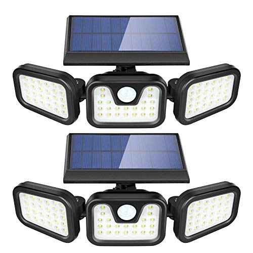 Solar Lights Outdoor, ZEVEZ 3 Heads 74LEDs Solar Motion Sensor Light Outdoor, Solar Security Lights 270° Illumination 6500K IP65 Waterproof for Entryway, Patio Yard, Garage and Pathway 2Pack
