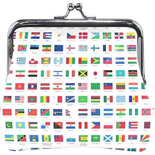 Gesp portemonnee wereld landen vlaggenslot portefeuille wisselen portemonnee