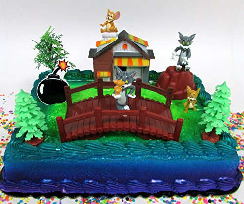 Tom and Jerry 11 Piece Birthday Cake Topper Set Featuring Tom and Jerry Figures and Decorative Themed Accessories