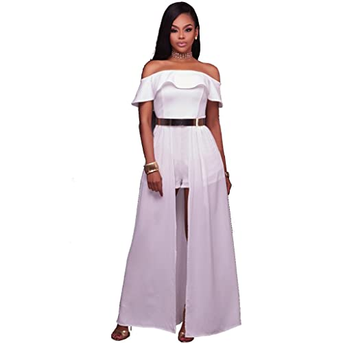 06ecad402af Felicity Young Women s Off Shoulder Ruffle High Split Long Maxi Dress  Overlay Rompers Jumpsuit Playsuit