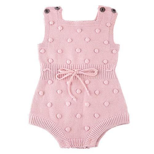 Kleinkind Strickkleidung Ball Dekoration Baby Baumwollmischung Strickwaren Baby Jungen und Mädchen Strickpullover, Häkeln Kletterkleidung(Rosa)
