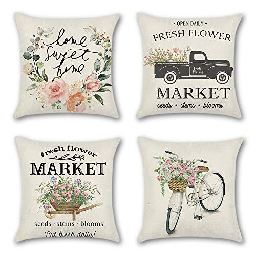 JOTOM Dekorativ Kissenbezug Blumen Theme Wurfkissen Dekokissen für Wohnzimmer Sofa Büro Outdoor 45 x 45cm 4er Set (Frühling)