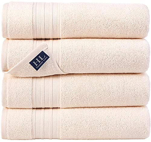 Hammam Linen Sea Salt Cream Bath Towels 4-Pack - 27x54 Soft and Absorbent, Premium Quality Perfect for Daily Use 100% Cotton Towel