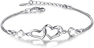 ANGELFLY Infinity Double Heart Charm Sterling Silver Adjustable Bracelets,fit Gifts for Women Wife Girls