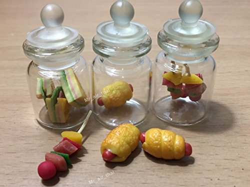 Price comparison product image 3pc Miniature Sandwich Food Hot Dog Fruit Vegetable Dollhouse BBQ in Clear Glass Mini Bottle Fruit Mix MF009