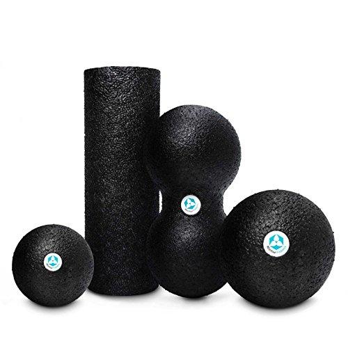Faszien-Set »BlackCat« bestehend aus Faszienball (klein & groß) / Faszienrolle / DoubleBall - ideal zum Faszientraining & zur Selbstmassage / unterschiedliche Varianten & Größen / Farbe : Schwarz