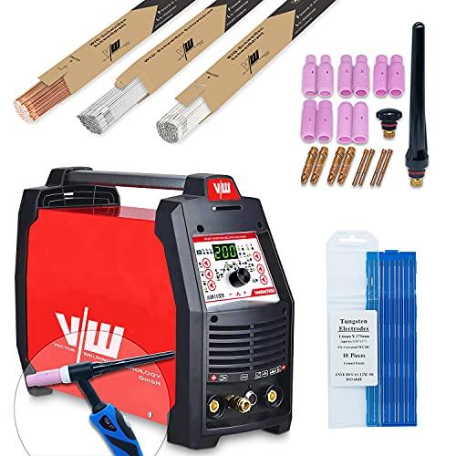 Wig - Soldadora profesional AC DC con 200 Amp - Electrodos Inverter IGBT - Combinado Tig de gas protector - MMA ARC ACDC E-Hand Puls 230v Mini