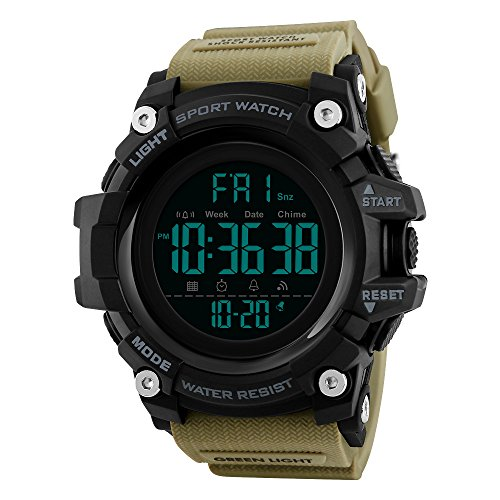 FeiWen Simple Relojes de Hombre Grande Dial LED Electrónica Outdoor Digitales 50M...