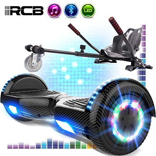 RCB Hoverboards und Hoverkart Set 6,5 Zoll Elektro Skateboard für Kinder Elektroroller mit Bluetooth Roller Bluetooth und LED-Lichtern Solider Sitz Spielzeug für Kinder