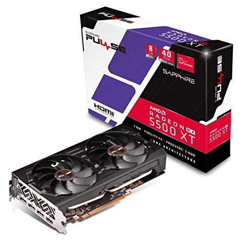 Sapphire 11295-01-20G Radeon PULSE RX 5500 XT 8GB GDDR6 HDMI / Triple DP OC w/ backplate (UEFI) PCIe 4.0 Graphics Card