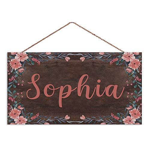Customizable Personalized Sign Pink Floral Wreath Sign Personalized Girls Bedroom Baby Nursery Door Wood Sign Wall Art Decor