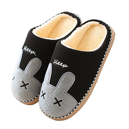 Minetom Inverno Pantofole Home Morbido Antiscivolo Cotone Scarpe Caldo Peluche Casa Pattini per Donne Uomini B Nero EU 40 41