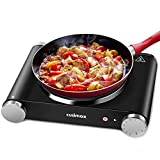 "Cusimax Hot Plate Portable Electric Stove Countertop Single Burner 1500W with Adjustable Temperature Control & Non-Slip Rubber Feet, 7.4"" Cooktop for Dorm Office Home Camp, Compatible for All Cookwares"
