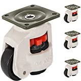 Happybuy Leveling Casters Set of 4, 2' - Self Leveling Casters Heavy Duty, 1650 Lbs Per Set - Machine Casters Plate, 360 Degree Swivel - for Industry Equipment, Workbench, Shelves