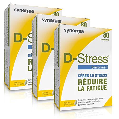 D-Stress (+ 1 Vitamine D3 offerte) Magnésium Hautement Assimilé Taurine, Arginine & Vitamines B (Vitamine B6, B5, B3, B2) Origine France Lot de 3 + 1 Vitamine D3 offerte