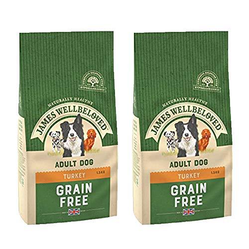 2 x 1.5kg Dry Dog Food Turkey Meat Grain FREE Natural Vegetables Adult Pet 7y+ Snack