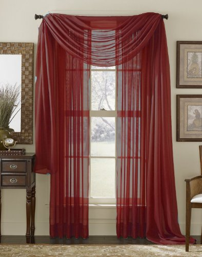"""3 Piece Sheer Panel (2 Pieces 58"""" x 84"""") and Scarf Window (1 Pieces 37"""" x 216"""") Curtain Combo Set (Burgundy)"""