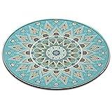 LB Blume,Mandala,blau_Rund Fläche Teppich Wohnzimmer Schlafzimmer Badezimmer Küche Bodenmatte Inneneinrichtung,80x80 cm