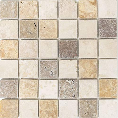 Mosaico baldosas Travertin piedra natural beige marrón Travertin tumbled MOS43-46685