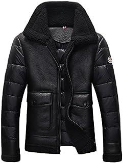 (スワリース)SOIERIES メンズ ダウンコート ダウンジャケット 裏ボア 切替デザイン セレブ愛用 防風防寒 冬物 2色入 D2016DJM001S、ブラック、XL