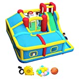 WELLFUNTIME Inflatable Bounce House with Slide, Jumping Castle with Blower and Wave Pool, Basketball Rim, Long Tunnel