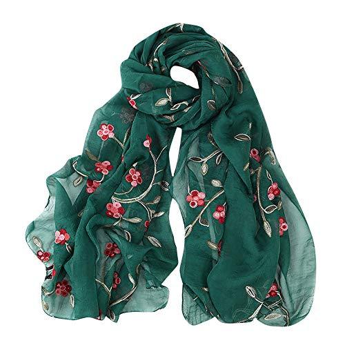 Lazzboy Frauen Stickerei Chiffon Schal Hijab Wrap Schals Stirnband Muslim Hijabs Luxus Damen Seidentuch Aufwändig Bedruckt Tuch Harmonische Farben Damentuch(M)