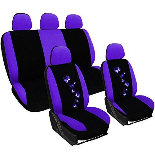 WOLTU AS7250la Sitzbezüge Auto Schonbezüge universal Größe, Butterfly Stickerei, schwarz-lila