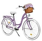 Milord Bikes Bicicleta de Confort Violet de 1 Velocidad y 28 Pulgadas con Cesta y Soporte Trasero,...