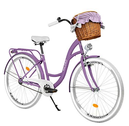 Milord Bikes Bicicletta Comfort Viola a 1 velocità da 28 Pollici con cestello e Marsupio Posteriore, Bici Olandese, Bici da Donna, City Bike, retrò, Vintage