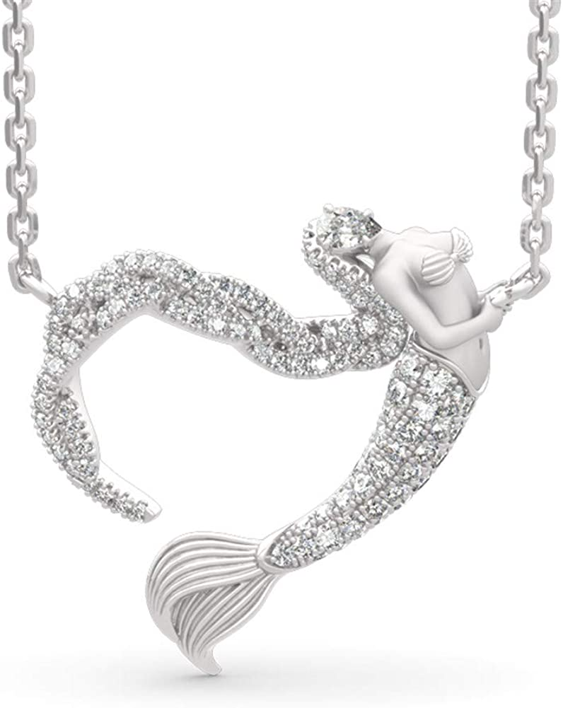Jeulia Mermaid Necklace for Women Limited time sale Silver Ocean's Challenge the lowest price Sterling Light