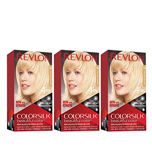 REVLON Colorsilk Beautiful Color Permanent Hair Color with 3D Gel Technology & Keratin, 100% Gray Coverage Hair Dye, 03 Ultra Light Sun Blonde, 4.4 oz (Pack of 3)
