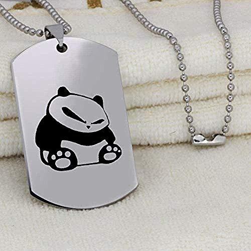 ZJJLWL Co.,ltd Collar con Colgante de Panda Gigante para Hombre Collar con Inicial de Acero Inoxidable Grabado único