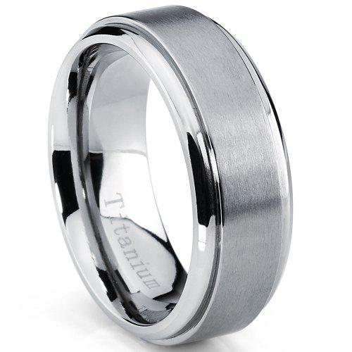 Metal Masters Co. 8MM High Polish, Matte Finish Men's Titanium Ring Wedding Band Size 8