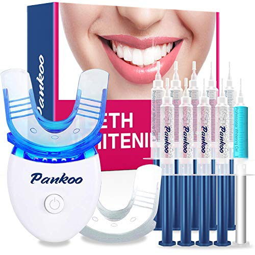 Teeth Whitening Kit with LED Light at Home for Sensitive Teeth,Professional Tooth Whitener with 2xDouble-Sided Silicone Mouth Tray,10xTeeth Whitening Gel,Safely and Effectively Whitens in 15 Minutes