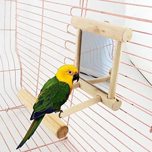 Gemini _ Mall Perchoir à oiseaux avec miroir pour perroquet, perruche, calopsitte, conure, inséparables, ara gris du Gabon, amazon, cacatoès, jouet en bois