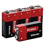 Kratax 9V 850mAh Li-ion Rechargeable Battery (4 Pack) CE FCC Certificated for <span class='highlight'>Smoke</span> Detector Alarm, Fire Alarm, Multimeter,Radio Microphone, Kids Toys Built-in Protection Board