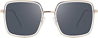 Stylish Square Oversized Sunglasses with 100% UV Protection for Women Men Classic Metal Frame Sun Glasses