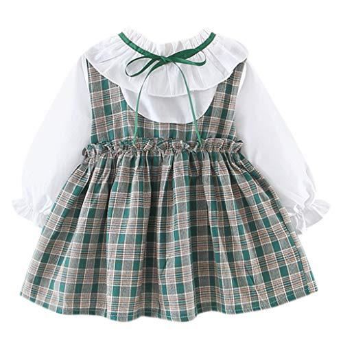 JUTOO (6M-24M Vestido de Arco de Rayas de Manga Larga para bebé(75/6,80/8,90/10,100/12)