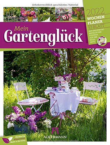 Gartenglück - Wochenplaner Kalender 2022, Wandkalender im Hochformat (25x33 cm) - Wochenkalender Blumen und Gärten, mit Rätseln und Sudokus