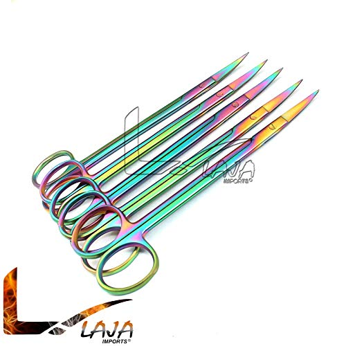 Read About LAJA IMPORTS Set of 5 Multi Titanium Color Rainbow Kelly Scissors 6.25″ Curved Stainless Steel