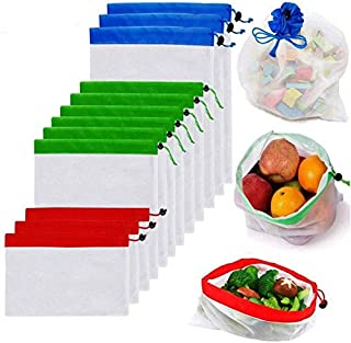 Reusable Mesh Produce Bags, Reusable Mesh Bags 12 Pack Washable Eco Friendly Bags, with Tare 3 Sizes for Grocery Shopping ...