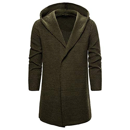 SALEBLOUSE Hoodie Mantel Herren Männer Mens Slim Fit Kapuze Stricken Mode Cardigan Lange Trenchcoat Solide Jacke Herren Strickjacke Männer Jacke mit Kapuze Moderne Kapuzenpullover-Sweatjacke Hoodie