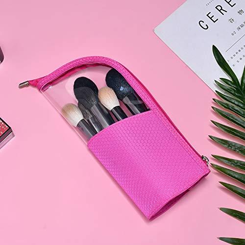 Happymore Trousse de maquillage portable avec fermeture éclair et support pour pinceaux et crayons Étanche Demi transparent Violet, Pas de zéro, rose rouge, Taille unique