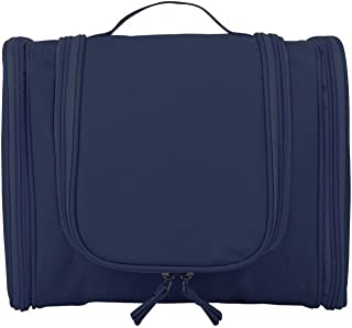 Toiletry bag Cosmetic Organizer with Hanging Hook Carry Handle for Travel and Bathroom Storage (Navy)