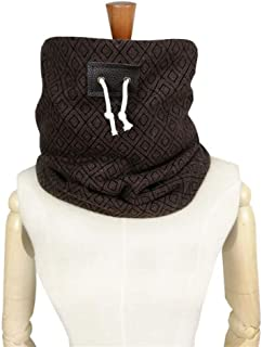 NJTSXLM Hooded Scarf Neck Warmer Cowl Scarf, Men Scarf Winter Scarf Unisex Neck Warmer face mask Leather Drawstring Scarf (Color : Brown)